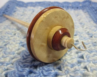 Drop Spindle in Pennsylvania Bird's Eye Maple, Curly Maple & Chico Zapote by Ken Mocker of Silly Salmon Designs