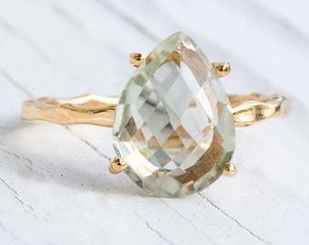 Green Amethyst Ring Gold, Solitaire Ring, Birthstone Ring, Gemstone Ring, Stacking Ring, Gold Ring, Tear Drop Ring, Prong Set Ring