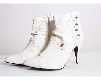 Vintage white leather boots / The Wild Pair / 1980s slouchy studded ankle boots / Stiletto heel /  Deadstock unworn 9 10