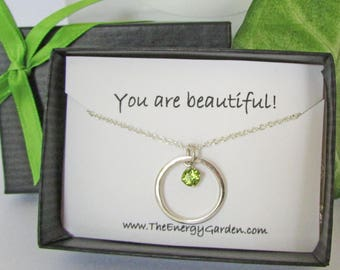 Peridot Circle Pendant, Solid Sterling Silver Pendant and Chain, Compliment Gift, Affirmation Gift, Appreciation Gift, Jewelry Gift Card