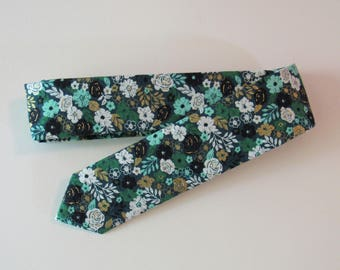 Metallic Floral Skinny Tie in Teal, Gold // Cotton & Silk Necktie