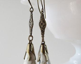 White Jasper Art Deco Earrings // Teardrop Gemstone Dangles, 1920s