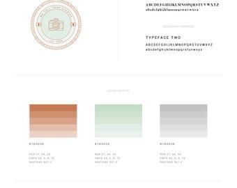 Photography Branding Kit — Stylish Branding Kit — Premade Logo Design — Copper & Mint — Logo + Watermark — Branding Style Guide // Moments