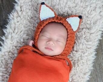 Woodland Fox Bonnet - Fox Forest Set - Newborn Fox Photography Set - Newborn Fox Bonnet and Diaper Cover -  Newborn Photo Prop