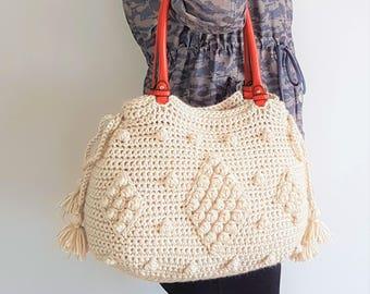 Valentine's Gift Leather Bag Beige Girlfriend Gift Mom Gift For Her Tote Bag Shoulder Bag Leather Bag Handmade Bag Beige Bag Gift For Her