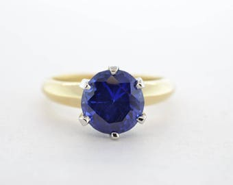 Platinum and 14k Yellow Gold Lab Sapphire Ring- Size 6