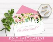 Bridesmaid Proposal, Will You Be My Bridesmaid Card, Will You Be My Bridesmaid Download, Instant Download, Printable Card, Ask Bridesmaid