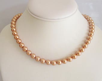 Pearl Necklace,Rose Gold Pearl Necklace, Classic Pearls, Romantic,Single Strand Pearls,Bridal Necklace,Bridesmaid Necklace,Swarovski Pearl