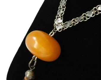 Vintage Amber Bakelite Pendant Necklace