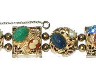 Vintage Slide Charm Bracelet For Larger Wrist