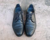 Vintage Mens 10.5b Wright Arch Preserver Shoes USA Lace Up Leather Black Oxfords Brogues Classic Dress Shoes Pointy Toe Hipster Fashion