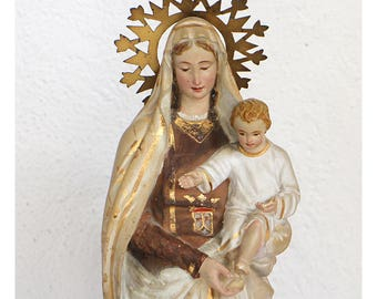 Vintage Virgin Mary Statue - Antique Virgin Mary Statue - Our Lady of Carmen - Religious Statue  Religious Collectors -  Madonna Statue (VL)