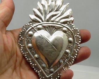 Vintage Milagro Sterling Silver Ex-voto Votive Sacred Heart Jesus