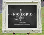 Custom Graduation Party Welcome Sign, Printable Welcome Sign, Grad Party Decor, Graduation Welcome Printable, Custom Sign, You Print