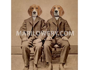 Beagle Art, Dog Art Print, Anthropomorphic Animals in Clothes, Dog in Suit, Twin Brothers, 5x7 Collage Print, 8x10 Print