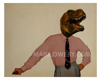 Dinosaur Art, Geekery, Paper Collage Print, 8x10 Inch Print, Man Cave Decor, Retro Wall Art for Men