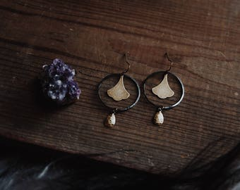 ginkgo. a pair of mixed metal hoop and leaf nature inspired earrings