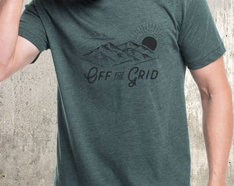 Men's Heather Blended T-Shirt - Off the Grid - Men's American Apparel T-Shirt- Men's Small Through XXL Available