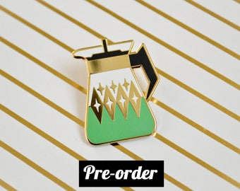 PREORDER - Coffee Carafe Enamel Pin V3 - Seafoam - Vintage Pyrex Inspired - Retro - Lapel Pin - Cloisonne Pin - Hard Enamel - Coffee Lover