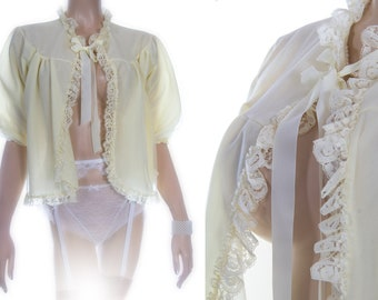 Adorable Will-O-The-Wisp by Minster double layer rich lemon nylon and sexy matching lace and ribbon detail 1960's vintage bed jacket - 4167