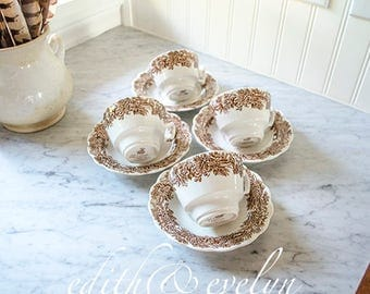 Vintage Brown Transferware Ironstone Cups and Saucers, Set of Four, English, Booths England