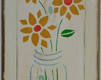 Hand Painted Sunflowers in Blue Ball Jar On Recycled Wood Door Primitive Original Naive Farmhouse Decor Country Home