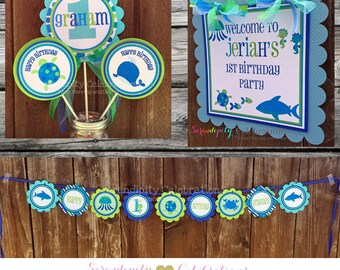 Party Package -Party Bundle -Blue Sea Party Package -Birthday -First Birthday -Baby Shower -Banner -Centerpiece -Party Sign -Under the Sea