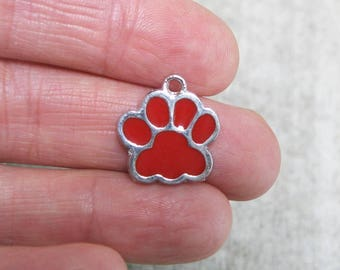 5 Red and Silver Enamel Paw Charms - C2596