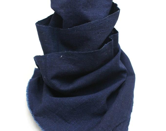 Japanese Indigo Cotton. Artisan Aizome Boro Textile. Blue Vintage Folk Fabric (Ref: 1826)