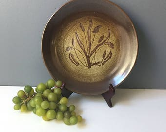 Stoneware cattail plate - decorative functional 1970s pottery