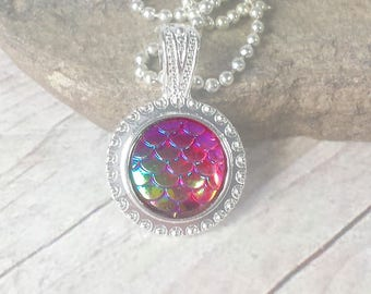 Mermaid scale necklace, Dragon Scale necklace, yellow, pink, purple, red, peacock, mermaid jewelry, fantasy earring, iridescent, Dragon skin