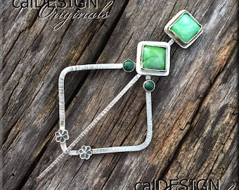Square Sterling Silver Shawl Pin, Scarf Pin or Hair Pin with Variscite & Malachite Cabochons and Tiny Handcrafted Fine Silver Blossoms