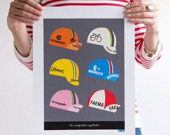 Six Classic Cycling Caps Print, Tour de France Art