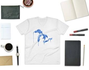 Great Lakes Watercolor Tee, Great Lakes T-Shirt, Great Lakes Gift, Great Lakes, Great Lakes art, Michigan T-Shirt, Drippy Great Lakes