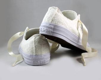 Ivory Lace Monochrome Bridal Converses  -- Ivory Lace Converse -- Wedding Tennis shoes  - Wedding Converse