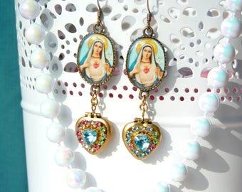 Virgin Mary Handmade Resin Dangle Earrings - Virgin de Guadalupe Earrings - Catholic Religious Earrings - Mexican Art Earrings - Virgin Mary
