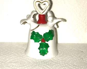 Ceramic Holly Bell  Porcelain Holly Bell  Christmas Holly Bell Has a nice clear tone  from the attic