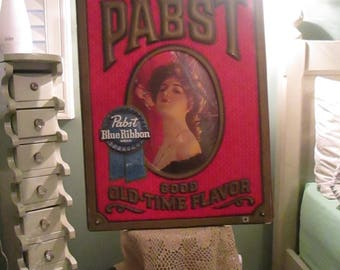 Vintage 1960s Pabst Beer Sign Victorian Woman Blue Ribbon Pabst Retro Barware