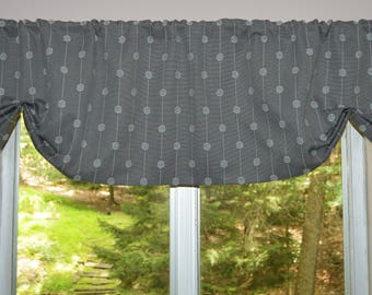 Retro Kitchen Curtains Gray . Scalloped Valance . Faux Roman Shade .