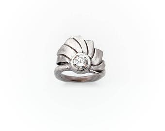 Fan Ring - Art Nouveau Ring,  Pure Silver Ring, PMC Ring, Silver Jewelry, PMC Jewelry