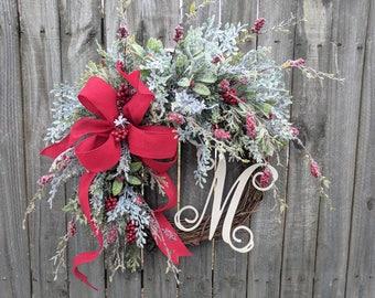 Christmas Wreath with Snowy Berries, Christmas Wreath, Red Felt Wreath, Wreath Initial, Monogram Wreath, Snowy Berry Wreath Horn's