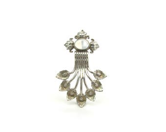 Black Starr & Gorham Moonstone Brooch by Cini. Sterling Silver Calla Lily Flowers. Art Deco Streamlined Waterfall. Vintage 1920s Early Mark