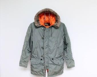 Olive Green Orange Bomber Parka Jacket Coat Mens Medium Sears Faux Fur Hood Vintage Flyers Airforce Military Army Navy Marines M Hooded