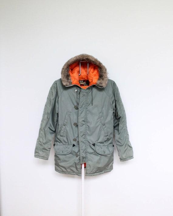 Olive Green Orange Bomber Parka Jacket Coat Mens Medium Sears
