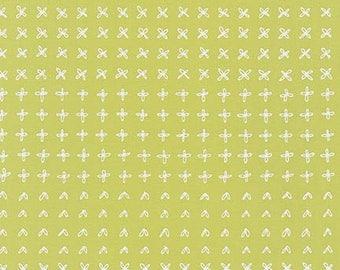 Blueberry Park Sprouting Row in Zucchini, Karen Lewis Textiles, Robert Kaufman Fabrics, 100% Cotton Fabric, AWI-15752-358 ZUCCHINI