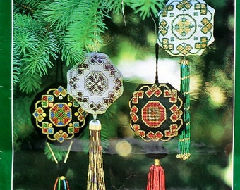 Needlepoint Kit | STAINED GLASS ORNAMENTS | Jan Walters | Needle Arts Magazine | Embroiderers Guild of America |  Pattern | Supplies