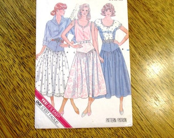 VINTAGE 1980s High Waisted Skirt w/ Pointed Yoke & Full Gathered Dirndl - Size (14 - 16 - 18) - UNCUT ff Sewing Pattern Butterick 5607