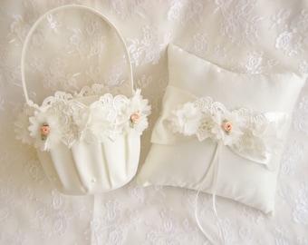Flower Girl Basket and Pillow -  Ring Bearer Pillow, Flower Girl Basket Set Cream on Cream Venice Lace