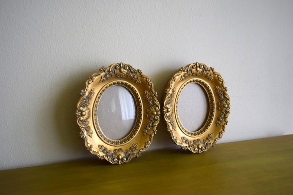 Two Vintage Gold Resin Ornate Frames - Mid Century, Hollywood Regency, Baroque