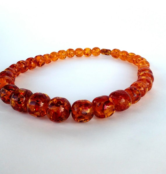 Vintage 1960's Faux Amber Lucite Necklace